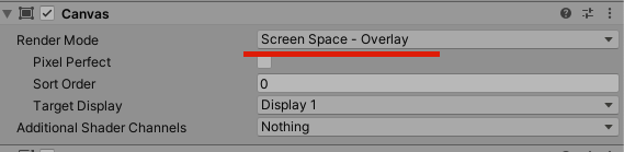 CanvasはScreenSpaceにする